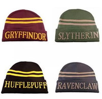 Qualità di moda Harry Potter Beanie Gryffindor Slytherin Caps Skull Hufflepuff Ravenclaw Cosplay Costume Caps Striped scuola inverno Cappelli
