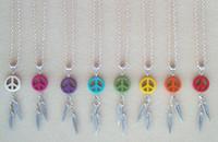 Wholesale Peace Slide Charm - Dream Catcher Feather Stone Peace Dreamcatcher Charms Choker Vintage Silver Necklaces Pendant Women Fashion Jewelry Girls Bijoux 10PCS Z485
