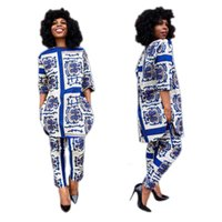 Wholesale indian summer dresses - Summer Traditional African Clothing 2 Piece Set Women Africaine Print Dashiki Dress African Clothes indian bazin riche femmeG007