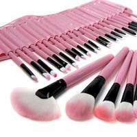 Wholesale 32 Pcs Makeup Brush Pink - Pink black 32 Pcs Make Up Tools Professional Cosmetic Makeup Brush Set Kit fashion cute Bag
