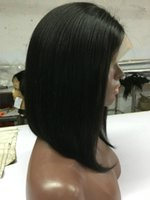 Wholesale Dyed Hair Wigs - Natural Color can be dyed 130% Density Unprocessed Peruvian Full Lace bob Wig  Lace Front Wig Bob Glueless Human Hair Wigs