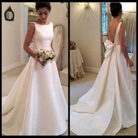 Wholesale Sexy Backless Satin Wedding Dress - Bohemian Wedding Dress 2017 Vestidos De Noivas Jewel Ivory Satin Bridal Gowns Sexy Backless Wedding Dresses