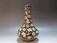Wholesale Antique Ceramic Vase China - China Jizhou kiln black brown glaze porcelain old Vase painting lotus flower
