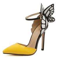 ingrosso scarpe gialle bride-Scarpe tacco alto 2017 tacco alto donna tacco alto 8 / 11cm, sandali tacco a farfalla, scarpe sexy per la sposa partito giallo viola nero