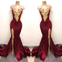 Wholesale High Neck Long Evening Dresses - New Design 2K18 Sexy Burgundy Prom Dresses with Gold Lace Appliqued Mermaid Front Split for 2018 Long Party Evening Wear Gowns