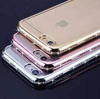 tampon moda toptan satış-Yeni Moda Deluxe TPU Şeffaf Yumuşak Telefon Kılıfı Kapak Elmas Tampon iPhone 7 7 Artı 6 6 s Artı Kılıf Kapak G0142