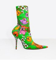 Wholesale Sexy Bootie High Heel Boots - Retro Floral Print Stretch Fabric Bootie Women Pointy Toe Covered Heel Boot Sexy Stiletto Ankle Boots Slip On Shoes Woman