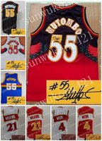 Wholesale Red Man Sign - Atlanta Denver Basketball Man Woman Youth Signed Jersey,55 Dikembe Mutombo,21 Dominique Wilkins,4 Spud Webb,Retro Throwback Jersey