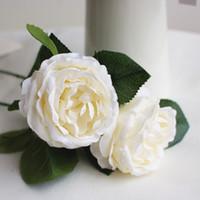 flores brancas verdes alaranjadas venda por atacado-Flores do casamento De Seda Artificial Subiu Noiva Bouquet Wed Decorações Branco Rosa Verde Rosa Laranja Navio Livre