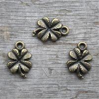 Wholesale Antique Leaf Pendant - 30pcs--Antique bronze Four Leaf Clovers Flowers Charms Pendants 17x11mm