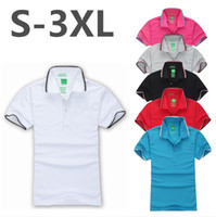 Wholesale Short Sleeved Mens Shirts - High Quality Men Short Sleeved Cotton Polo Shirt Summer Mens Clothing Plus Size Casual Solid Polo Shirts top Letters embroidery polo shirt