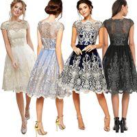 Wholesale L Evening Gown Bridesmaid Dresses - Europe 2017 Women's Evening Dress Lace Embroidery Retro Ponce Skirt Women's Bridesmaid Dress Lady Ball Gown Dresses