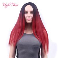 en güzel sarışın saç toptan satış-24 inç ombre renkler uzun peruk düz stil kadınlar için sentetik saç peruk kızlar sarışın saç kadınlar için yararlı saç en iyi kalite noel kap peruk