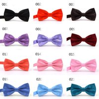 Wholesale Kids Grey Tuxedos - Wholesale Children Men Women's Bow Ties Solid 36 Colors Party Wedding Bow Ties Kids Bow Knots Tuxedos Accessories Free Shipping