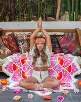 Wholesale Drop Shipping New Arrival Indian Mandala Tapestry Lotus Mat Yoga Bohemian Flower Printed Shawl Tassel Sunblock Beach Towel cm