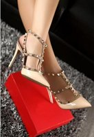 Wholesale Yellow Kitten Heels Wedding - Top Fashion High Heels T Straps Rivets High Heels Woman Sandal Shoes Patent Leather V Shoes pointed toe women wedding shoes 8cm 10cm+box
