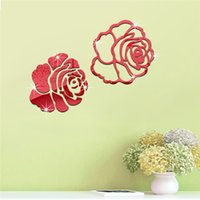 Wholesale mirror sticker flower designs for sale - Group buy Wall sticker DIY Home Family Decor Rose Flowers Mirror D Decal Room decoration accessory Wall Stickers