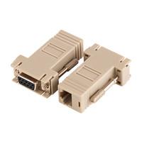 adaptador rj45 db9 al por mayor-DB9 hembra a RJ45 hembra F / F RS232 Adaptador modular Conector Extensor Convertidor DB9 hembra a RJ45 100Pcs / Lot