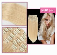 16-28inches # 60 Platinum Blonde Color 70-200g Бразильский человеческий волос Remy Cheap Clip In Human Hair Extensions