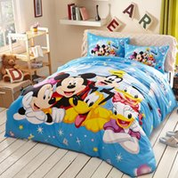 Wholesale Pink Full Comforter - Cotton mermaid cartoon bedding set pink princess Mickey Mouse comforter duvet cover sets 3 4 pcs twin full queen king kids bedspreads decor