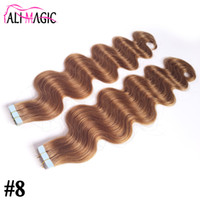 Wholesale Color Hair For Brown Skin - skin weft Tape In Hair Extensions Human For Your Nice Hair Discount #8 Light Brown Brazilian Body Wave Beauty Hair Products 10-28inch