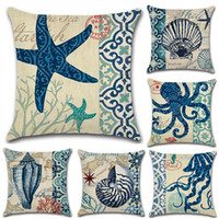 Wholesale cushion starfish - 45X45cm Starfish Beach Holiday Pillow Case Cushion cover Linen Cotton Throw Pillow cases sofa Bed Pillow cover