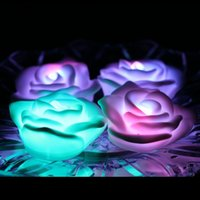 Wholesale Fancy Candles - Fancy Colorful Changing LED Rose Flower Romantic Wedding Decoration Party Lamp Candle lights Make a Wish Lights rose led night light