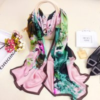 Wholesale Scarves For Painting - 180X70CM Oil Painting Lotus Print satin silk scarf mulberry silk scarves for fashion women