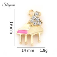 Wholesale Wholesale Piano Crystal - DIY Piano Charms Pendants Crystal Floating Charms for Jewelry Making Findings Bracelets Crafts Handmade DIY Gifts 19*14mm