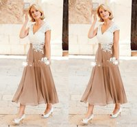Wholesale Dress For Mothers Brides - 2017 A Line Mother Dresses V Neck Ankle Length Party Dresses For Mother Formal Wear with Cap Sleeve Mother of the Bride Dress