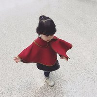 Wholesale Shawl Cape For Girl - Kids shawl cloaks Christmas wine red gold edge woolen poncho for children lapel princess cape autumn winter baby girls warm outwear R0017