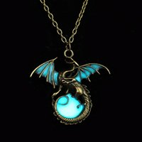 Wholesale Wholesale Silver Mens Chains - Wholesale- Retro Dragon Glow in the Dark necklace Pendant Silver Chain Jewelry Bright Dragon Pendants & Necklaces Mens Punk Dragon Necklace