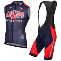 Wholesale Tour France Vests - 2017 USA team Short Sleeves Cycling Jersey and cycling bib shorts sets Bike Tour de France Cycling vest Shirt Ciclismo Clothes for Men