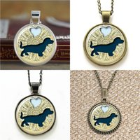 Wholesale Dachshund Pendant - 10pcs Dachsund with Heart Dog Jewelry Dachshund Lover Glass Photo Necklace keyring bookmark cufflink earring bracelet