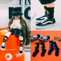 Wholesale Korea Baby Socks - Top Quality Winter Kids Maple Leaves Sock For Baby Korea Letter Ankle Socks Cotton Hip Hop Socks Toddler Socks 10pair lot CCA7573 50pair