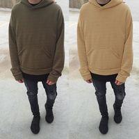Wholesale Long Camel Coat Men - Fear Of God 3rd Collection Plain Hoodie Men's Black Camel Green Orange Pullover Sweatshirt Winter Oversized Fleece Sweater Coat LGF0424