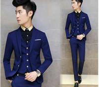 Wholesale Men S Neck Piece - 3 pieces men gold buttons slim fit wedding party suits short jacket pants vest formal blzaers 4Colors