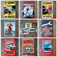 Wholesale Cafe Wall Art - My Garage tin sign Wall Decor Vintage Craft Art Iron Painting Tin Poster Cafe Shop Bar Club Home Decorate