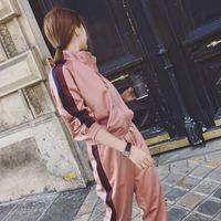 Wholesale Woman Suit Korea - Fashion South Korea 2017 spring womens tracksuits leisure Temperamental fashion two-piece edition sport casual trousers suit