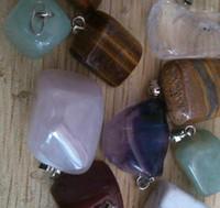 rosenquarzsteine großhandel-Naturstein Anhänger Großhandel viel # 735.2 gemischt neue Katzenauge Rosenquarz Kristall Achat fit Halsketten echten Schmuck