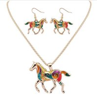 Wholesale China Horse Pendant - 30set Fashion Ethnic Jewelry Sets Rainbow Horse Pendant Necklace Drop Earrings Gold Silver Colorful Drip Resin Charm Gift For Women F270