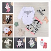 Wholesale Leopard Print Kids Sets - Baby Xmas Halloween pumpkin outfits kids Letter Christmas print hat+romper+pants 3pcs set children cotton suits 12 Styles LC634