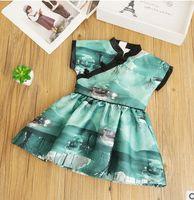 Wholesale Kids Buckle Clothes - Baby girls autumn dresses children Plate buckle Ink painting dress girls ruffle Cheongsam style dress 2017 new autumn kids clothes G0156