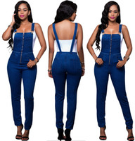 Wholesale Straight Loose Jumpsuit - New Arrival Fashion Slim Blue Jeans Pants Women Spaghetti Zipper Top Long Jumpsuits with Pockets Women Denim Trousers