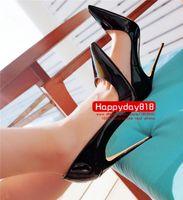 peep toe kegel fersen großhandel-Kostenloser versand mode Schwarz lackleder Lady Point zehe high heels schuhe pumpt stiefel echtes leder 120mm kegel ferse