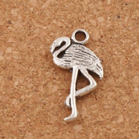 Wholesale Flamingo Bracelet - Flamingo Crane Charms Pendants 150pcs lot New 24x10mm Antique Silver L186 Jewelry Findings Components DIY Fit Bracelets Necklaces