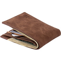 Wholesale Coin Purse Id Holder - Hot Sale Baborry Fashion New Men's Wallets Carteira Brown Color Quality 2 Fold Open ID Credit Card Holder Zipper Pocket Coin Purse Wallet