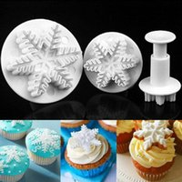 Wholesale Christmas Plastic Snowflakes - Snowflake Plunger Mold Fondant Cake Decorating Sugarcraft Cutter Mold Tools Cake Tools 3pcs set 400sets OOA2532