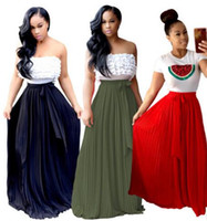 Wholesale womens plus denim skirt - 2017 new Womens Pleated skirt fashion plus size Solid color Party club skirt Vintage Long Maxi A Line High waist Skirt