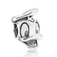 Silver Flowers Silver Authentic 925 Sterling Silver Bead Charm Vintage Cute Donald Duck Beads Fit Women Pandora Bracelet Bangle DIY Jewelry
